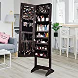 AOOU Jewelry Organizer Jewelry Cabinet, Full Screen Display View Larger Mirror, Lockable Wall Door Mounted, Full Length Mirror (Brown-3)