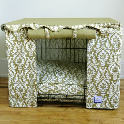Damask Dog Crate Cover Size: Small (21'' H x 24'' W x 18 - 19'' D)
