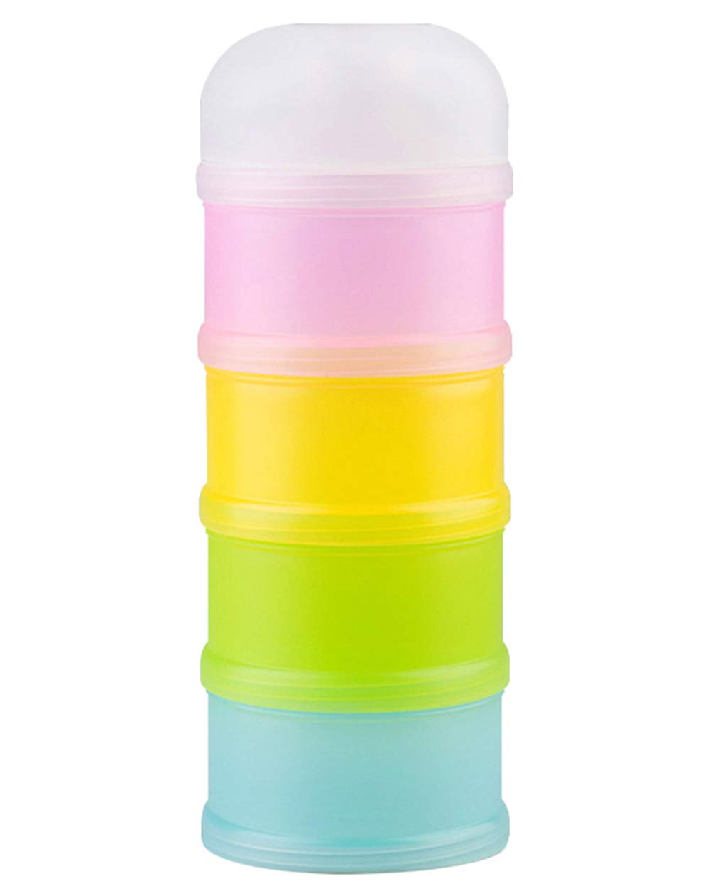 Kidsmile Babies Non-Spill Milk Dispenser, Twist Locks, Stackable Dispensers, Snack Storage Containers. (4 Tier Packaged Intelligent Storage System, 4 Different Color Packs)