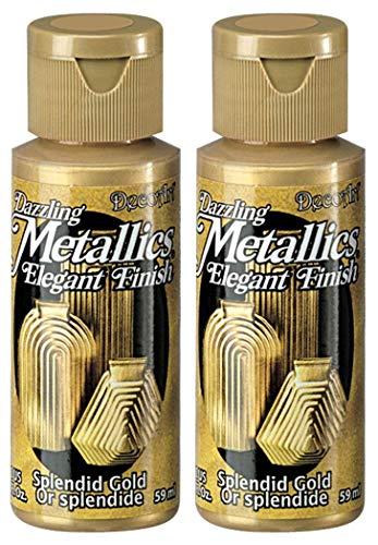 2-Pack - DecoArt Dazzling Metallics Acrylic Colors - Splendid Gold, 2-Ounces Each 2 Oz Dazzling Metallic Paint