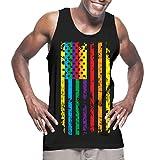 HAASE UNLIMITED Mens Big Rainbow Flag - Gay Lesbian Tank Top T-shirt (Small, BLACK)