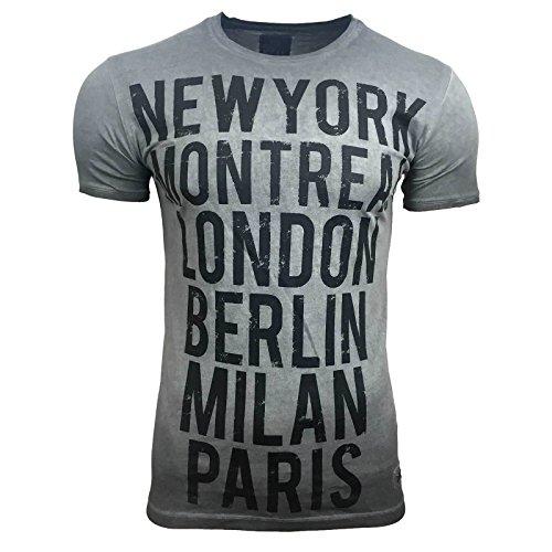 T-Shirt Kurzarm Herren Rundhals Stone Washed Optik Batik Shirt RN-16743 AVRONI, Größe:L, Farbe:Anthrazit