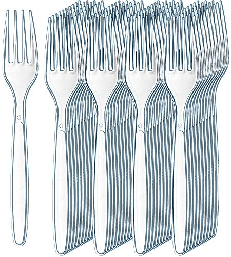 300 Clear Plastic Forks | Heavyweight Plastic Silverware Forks | Fancy Plastic Cutlery | Elegant Disposable Forks Pack…