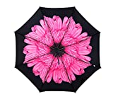 HenMerry Woman Parasol Anti-UV Sun Umbrella Blossom Windproof Folding Floral Totes Clear Compact Umbrella Tiny Lightweight Easy Carrying Umbrellas (Pink)
