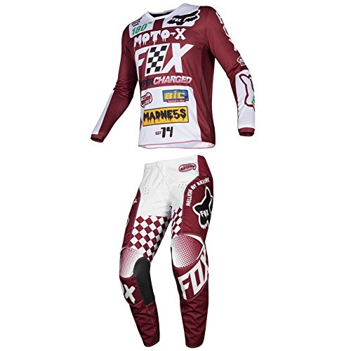 (Fox Racing 2019 180 CZAR Jersey and Pants Combo Offroad Gear Adult Mens Cardinal Medium Jersey/Pants 32W)