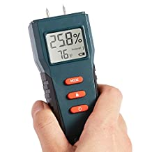 Fetanten Digital LCD Moisture Meter Tester for Wood, Building Materials, Sheetrock, Drywall,Firewood,Cement, Garden Plants and More, 2-Pin Sensor , Temperature and Humidity
