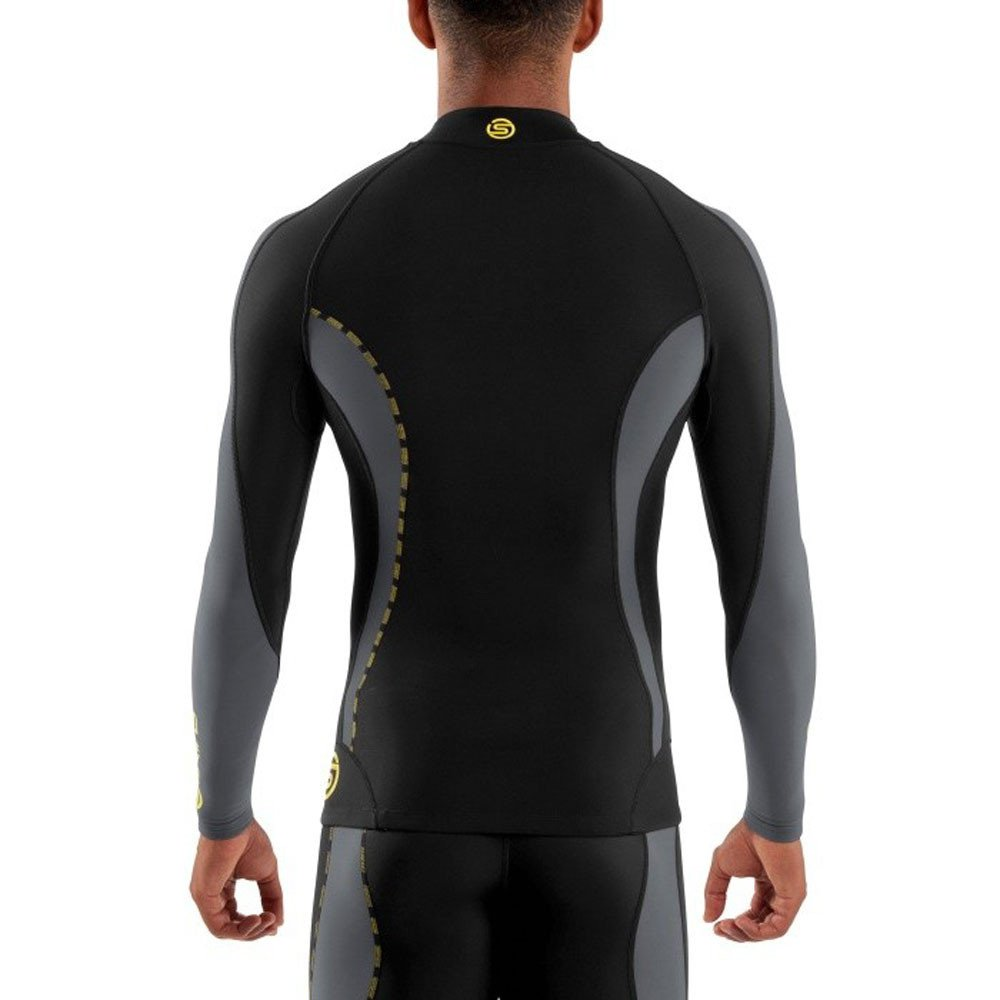 Skins Mens DNAmic Men's Thermal Compression Long Sleeve Mock Neck with Zip Top, Black/Pewter, Small by Skins (Image #4)