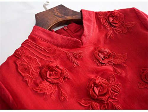 Vestito Rosso Abiti Women`s Con Cotiledone Solido Di Seta Colletto Libera Vita Colore qRwvEPw