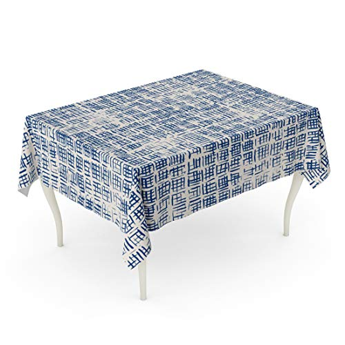 Emvency Rectangle Tablecloth 60 x 84 Inch Tie Dye Shibori Ink Japanese Modern Batik Watercolor Indigo Endless China Watercolour Table Cloth
