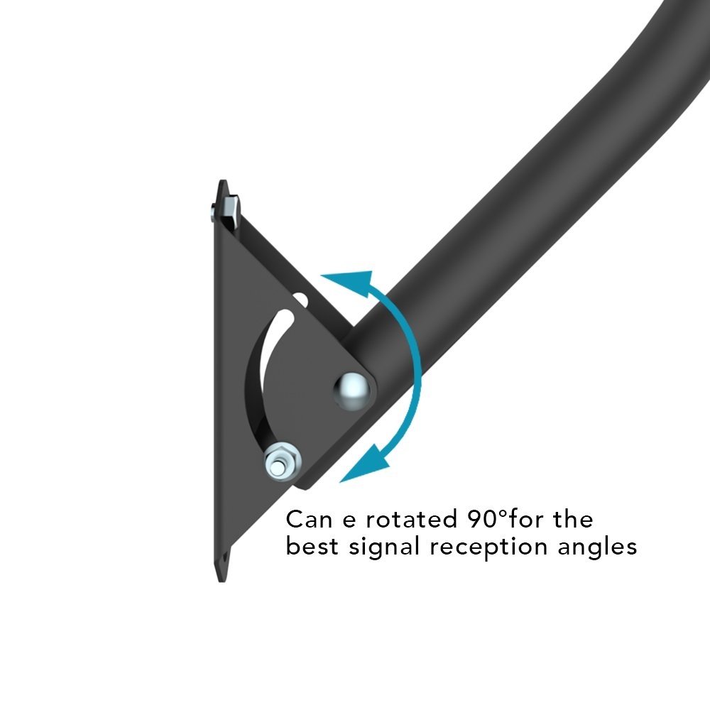 ANTOP Adjustable Outdoor/Attic TV Antenna Mount Pole, Stainless Painting, 19 inch Arm Length, Reversible, Lightweight, Waterproof, Easy Installation by ANTOP (Image #2)