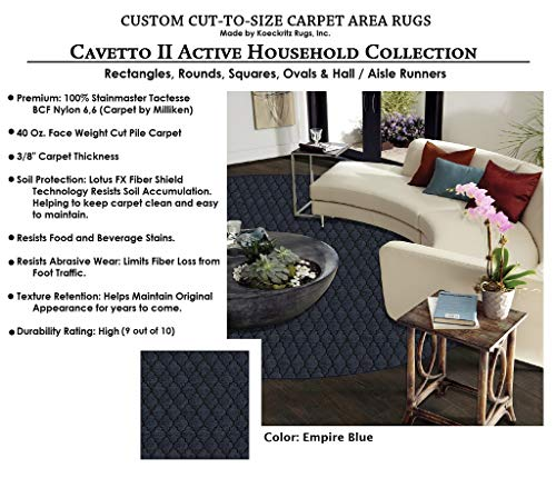 Round 5' - Empire Blue, Milliken Carpet - Cavetto II Pattern | Designers Dream Collection in Made-to-Order Custom Sized Area Rugs & Runners, Stainmaster Nylon ()