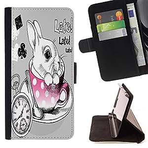 King Case - FOR Samsung ALPHA G850 - sailing without a compass - Prima caja de la PU billetera de cuero con ranuras para tarjetas, efectivo Compartimiento desmontable y correa para la mu?eca