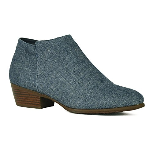 Women's Stacked Block Heel Booties Cowgirl Side Zip Low Chunky Heel Casual Western Ankle Boots Slip on Shoes Jean (Ankle Boots Jeans)