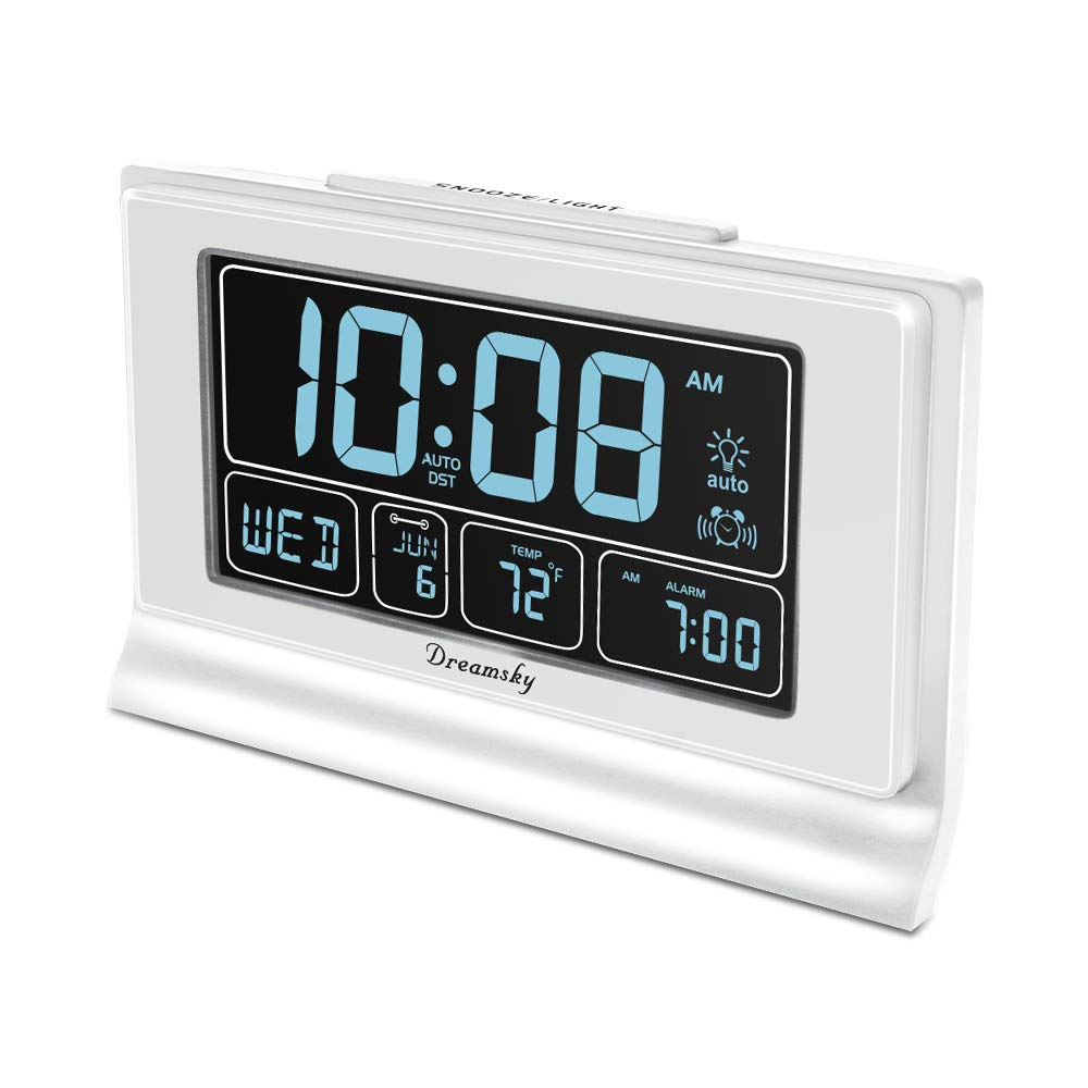 DreamSky Auto Set Digital Alarm Clock with USB Charging Port, 6.6 Inches Large Screen with Time/Date/Temperature Display, Full Range Brightness Dimmer, Auto DST Setting, Snooze. (White) by DreamSky