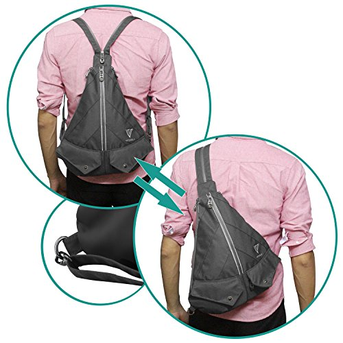 Multipurpose Travel Sling Backpack With Interior Organization Panel, Shoulder or Crossbody Design, 4 Safe Pockets & Waterproof Material. Convertible Sling Bag Suitable For Men Women & Ladies by NUMANNI (Image #2)