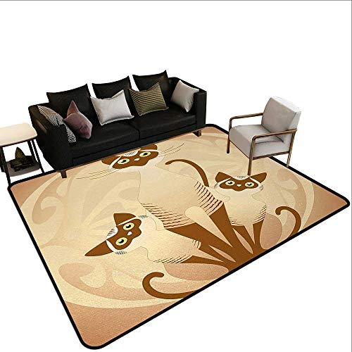 Kitchen Rugs Animal,Three Cats Feline Familly Asian Siamese Babies Kittens with Ivy Background,Tan and Light Brown,for Hard Floors, Provides Protection and Cushion for Area Rugs and Floors 6