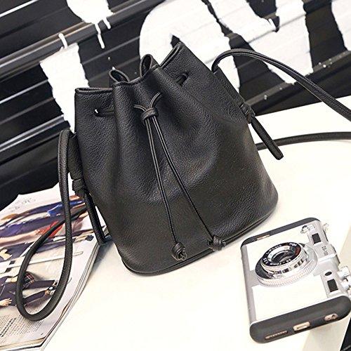Bluelans Fashion Frauen Faux Leder einfach Zeichnen String Crossbody Schulter Eimer Tasche, Kunstleder, grün, 20cm x 19cm x 14cm/7.87 x 7.48 x 5.51 schwarz