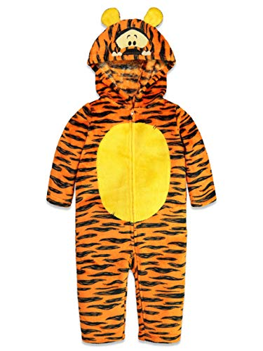 Tiger Pajama Costume (Disney Tigger Toddler Fleece Costume Hooded Cosplay Coverall with Tail)