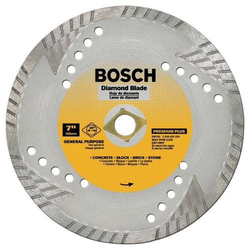 - Bosch DB763 Premium Plus 7-Inch Dry or Wet Cutting Turbo Continuous Rim Diamond Saw Blade with 5/8-Inch Knockout Arbor for Masonry