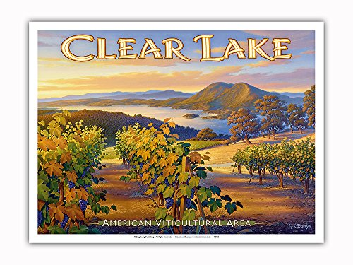 Pacifica Island Art Clear Lake Wineries - Brassfield's Estate Winery - North Coast AVA Vineyards - California Wine Country Art by Kerne Erickson - Master Art Print - 9in x 12in ()