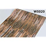 立体木目調 茶 w5020 壁紙シール アンティーク 木目 リメイクシート 板 柄 ウォールステッカー 防水 45cm×10m はがせるタイプ