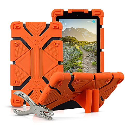 Universal 7 inch Tablet Case Shockproof Silicone Stand Cover for All Versions RCA Voyager 7 (2016, 2017) / Samsung Galaxy Tab 3/4/A/E Lite 7 / Google Nexus MatrixPad Z1 7 and More with DIY Puncher