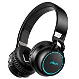 Picun Wireless Bluetooth Headphones LED Foldable Headsets Support 7 Colors Lights 20h Playtime TF Card Over Ear Hi-Fi Stereo Bluetooth Headset with Built in Mic for iPhone Tablet Laptop Mp3/4 (Black)