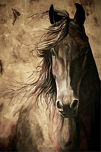 WISDOM - Horse Print 12x18 Inch Friesian Horse Acrylic Painting Equine Fine Art Print Dressage Horse Home (Original Art Acrylic Painting)