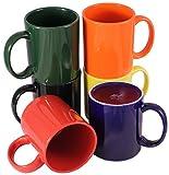 ITI Ceramic C-Handle Coffee Mugs with Pan Scraper, 10 Ounce (6-Pack, Assorted)
