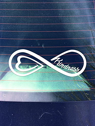 Trunk Wall - Kindness Infinity Vinyl Decal Sticker   Cars Trunks Vans SUVs Laptops Windows Walls Cups   White   7 X 2.5   KCD2161