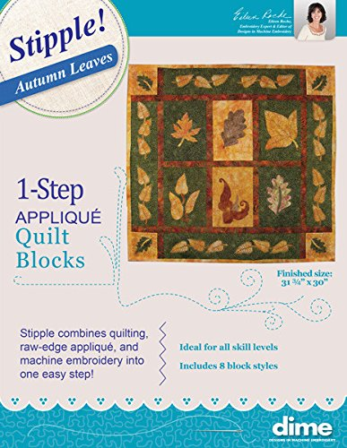 One Step Quilting & Applique Stipple Autumn Leaves by Designs in Machine Embroidery for Embroidery Software