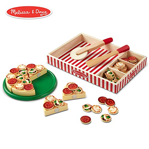 Melissa & Doug Pizza Party Wooden Play Food (Pretend Play Pizza Set, Self-Sticking Tabs, 54+ Pieces) from Melissa & Doug