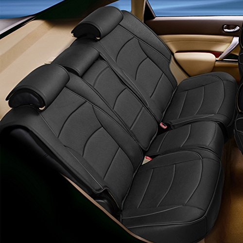 FH Group PU205013 Ultra Comfort Leatherette Bench Seat Cushion, Black Color- Fit Most Car, Truck, SUV, or Van ()