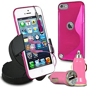 Fone-Case Apple iPod Touch 5, 5th Generation Protective Hydro S Line Wave Gel Silicone Skin Case Cover With Capacative Aluminium Retractable Stylus , Mini Bullet USB In Car Charger, 360 Rotating Windscreen Car Holder Cradle, 3.5mm In Ear Earphones & LCD Screen Protector Guard (Hot Pink)