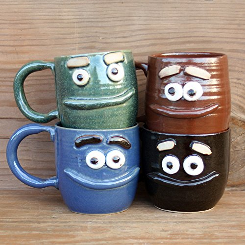 Ug Chug Smiling Lip Mug. Medium Handmade Stoneware Pottery Coffee Cup. Microwave Dishwasher Safe in Green, Blue, Chocolate Black or Red Brown.