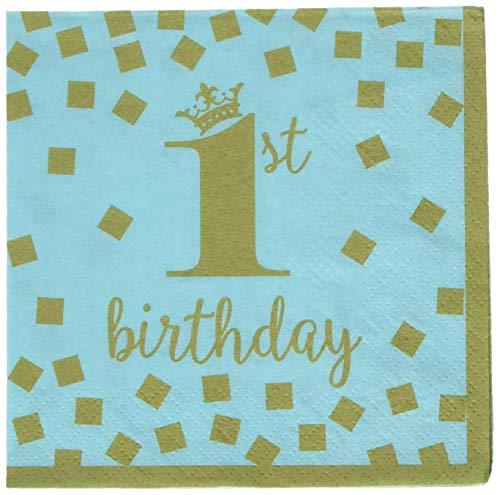 Amscan 501862 Party Supplies 1st Birthday Boy Beverage Napkins 6.5