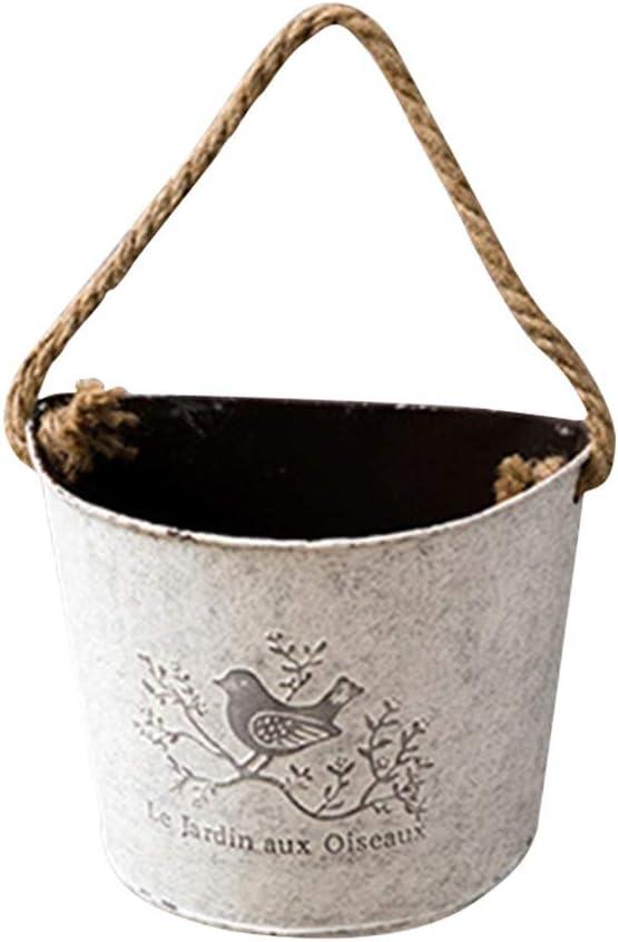 Yardwe Macetero Colgante de Metal para Colgar Pared Jardinera Vintage para Decoraciones de Pared para Interior Exteriores
