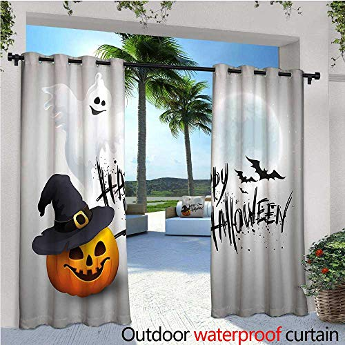 cobeDecor Halloween Patio Curtains Happy Celebration Typography Stained Look Cute Ghost Pumpkin Hat Print Outdoor Curtain for Patio,Outdoor Patio Curtains W120 x L108 White Black -