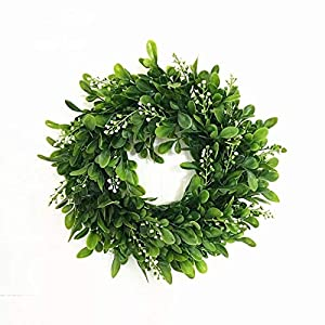 LaHomey 10-Inch Boxwood Wreath, Green Garland for Home Wedding Decoration 104