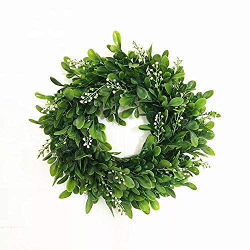 Christmas Mini Wreath - LaHomey 10-Inch Boxwood Wreath, Green Garland for Home Wedding Decoration