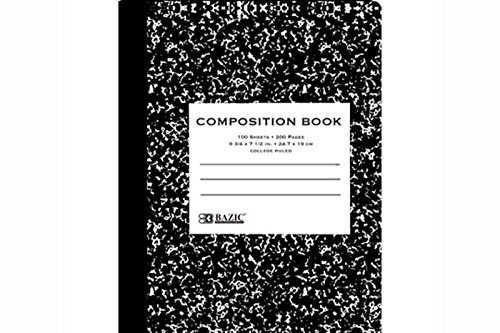 Bazic Black Marble Composition Book 100 Sheets 9.75 x 7.5...