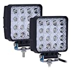 Kaleep 4″ 2pcs 48W Square Led Work Light Flood Fog Lights Driving Lamp 12V-24V For Off-road Car Boat Truck 4WD SUV ,2 Year Warranty(Flood)