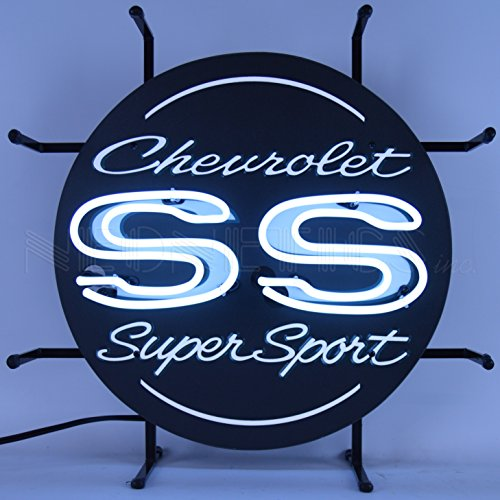 Neonetics Chevrolet Chevy SS Super Sport Junior Sign Bright White Real Neon Tubes 17 Inch - 5SMLSS