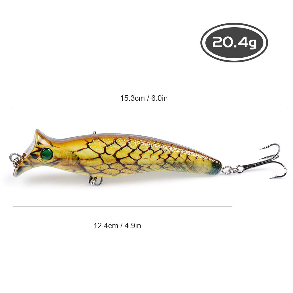 6 Colors Explopur Fishing Lure 12.4cm 20.4g Artificial 3D Eyes Hard Popper Top Water Lures for Saltwater Freshwater