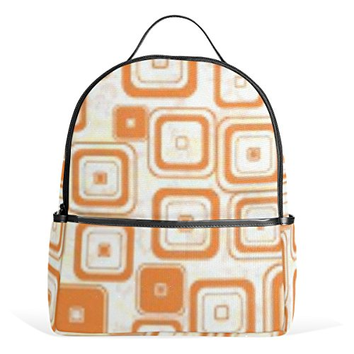Mr.Weng Orange Square Gradient Printed Canvas Backpack For Girl and Children
