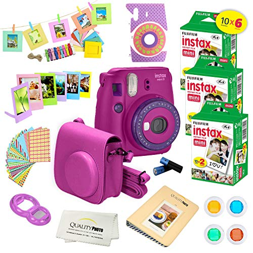 Fujifilm Instax Mini 9 Instant Camera w/Fujifilm Instax Mini 9 Instant Films (60 Pack) +A14 Pc Deluxe Bundle for Fujifilm Instax Mini 9 Camera (Purple) (Purple Camera)