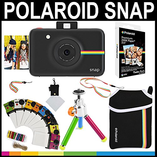 Polaroid Snap Instant Camera (Black) + 2x3 Zink Paper (20 Pack) + Neoprene Pouch + Photo Frames + Accessory Bundle
