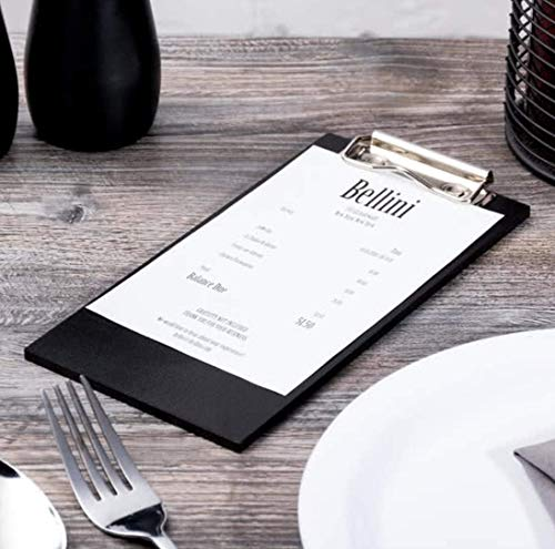 "(10-Pack) 8"" x 4"" Natural Wood Menu Holders/Check Presenters with Clip Sleek, Contemporary Appearance Black"