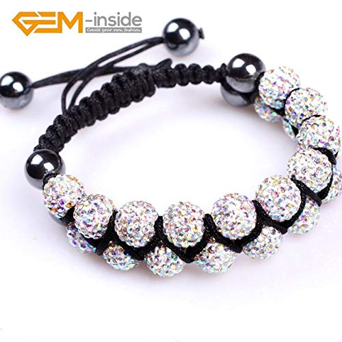 Assorted Colors Rhinestone Czech Crystal Ball Hand-Knotted Bracelets | for Women Girl (Adjustable Size 10Mm) ()