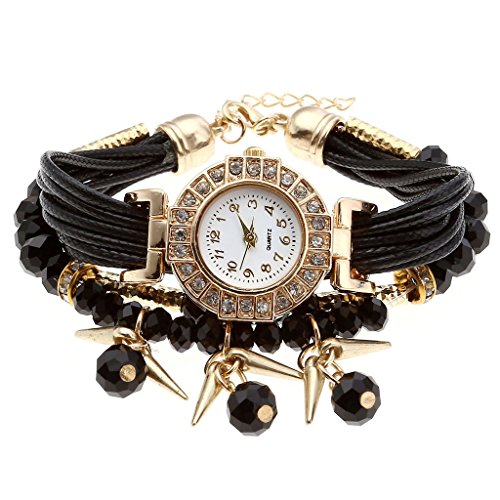 Top Plaza Rhinestone Bracelet Watch Black